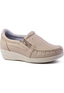 Sapato Feminino Anabela 200 Em Couro Doctor Shoes - Feminino-Nude