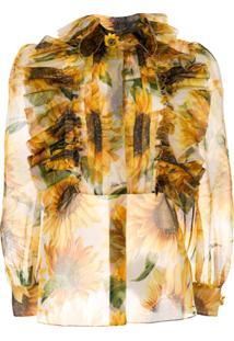 Dolce & Gabbana Blusa Translúcida Com Estampa - Amarelo