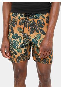 Bermuda D'Água Foxton Tropical Folhas Masculina - Masculino