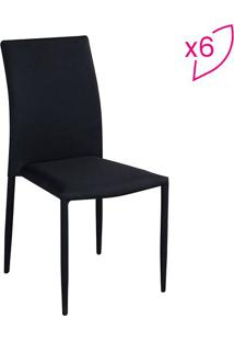 Conjunto De Cadeiras Amanda- Preto- 6Pçsrivatti