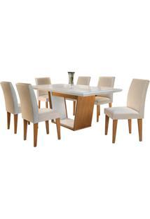 Sala De Jantar Sofia 1.80M Com 6 Cadeiras Imbuia/Off White Veludo Creme