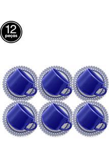 Conjunto Xicaras Chá 12Pçs Oxford Biona Donna Grecia Branco