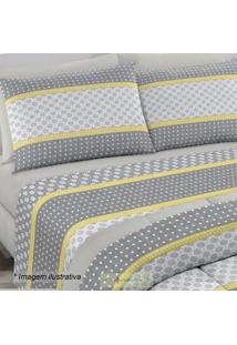 Edredom Royal Plus King Size- Cinza & Amarelo- 240X2Santista