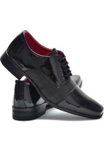Sapato Social Garra Verniz Moderno Masculino - Masculino-Preto