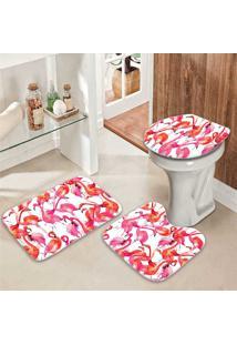 Jogo Tapetes Para Banheiro Flamingos Fly - Único