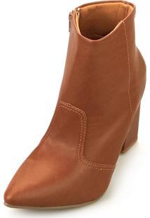 Bota Love Shoes Alta Salto Grosso Cano Curto Bico Fino Recortes Caramelo