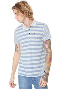 Camisa Polo Hurley Reta Optic Cinza/Azul