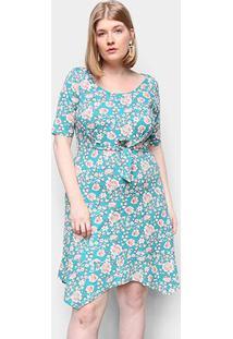 Vestido Naif Plus Size Curto Floral Amarração - Feminino-Verde