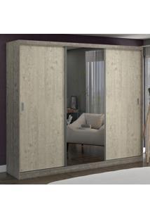 Guarda-Roupa Casal 3 Portas Com 1 Espelho 100% Mdf 7318E1 Demoli/Marfim Areia - Foscarini