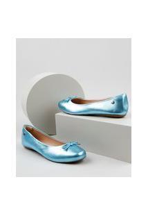 Sapatilha Feminina Via Uno Bico Quadrado Metalizada Com Laço Azul