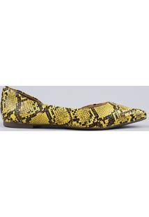 Sapatilha Feminina Via Uno Aberta Bico Fino Texturizada Animal Print Cobra Em Verniz Amarelo
