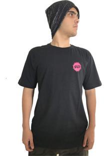 Camiseta Flip Skateboards Pink Splash Preta