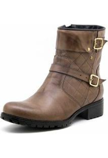 Bota Atron Shoes Ziper Feminino - Feminino-Marrom Claro