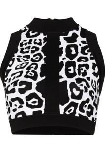 Balmain Blusa Cropped Com Estampa De Leopardo - Preto