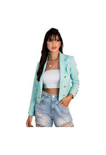 Blazer Feminino Curto Acinturado Maxxi Sem Forro Cores Azul