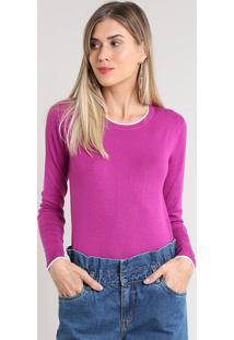 Suéter Feminino Básico Bicolor Em Tricô Roxo