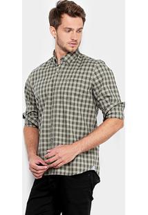 Camisa Lacoste Xadrez Regular Fit Bolso Masculina - Masculino-Verde