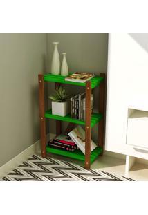 Estante Multiuso 3 Prateleiras Colors Suze Imbuia/Verde