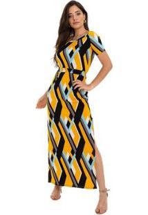 Vestido Gola Canoa Feminino - Feminino-Preto+Amarelo