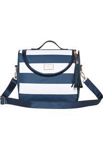 Bolsa Manhatan - Azul Escuro & Branca- 33X28X7Cm