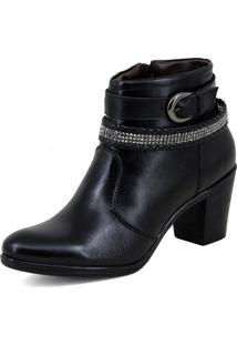 Bota Cano Curto Feminina Mr Shoes Confortavel Em Couro Preta