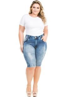 Bermuda Confidencial Extra Plus Size Jeans Squash Feminino - Feminino-Azul