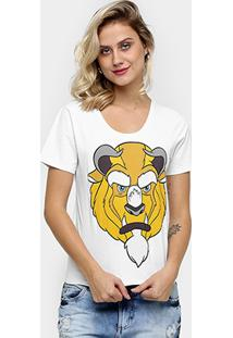 Camiseta Disney Fera Feminino - Feminino-Branco