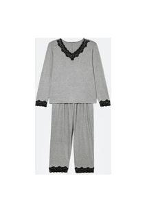 Pijama Blusa Manga Longa E Calça Com Detalhes Em Renda Curve & Plus Size   Ashua Curve E Plus Size   Cinza   G
