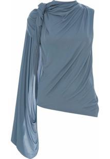 Jw Anderson Blusa Drapeada Com Uma Manga - Azul