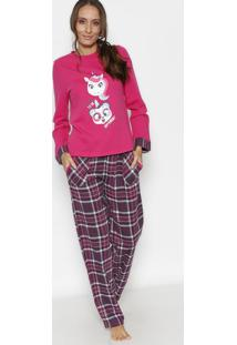 "Pijama ""It'S Ok To Be Different"" Com Unicórnios- Rosa Espuket"
