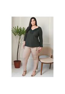 Calça Feminina Mac-Lu Cintura Alta Social Com Botões Linha Premium Bege Egípcio