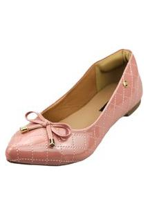 Sapatilha Bico Fino Love Shoes Matelasse Laçinho Verniz Rosa