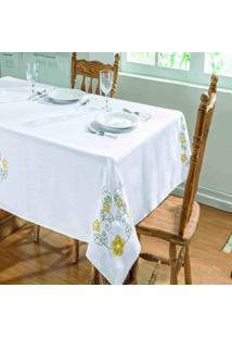 Toalha De Mesa Dourados Enxovais Dalia 1,40X1,40 Branco/Amarelo,