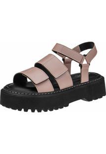 Sandalia Plataforma Chunky Gigil Flatform Velcro Rosê