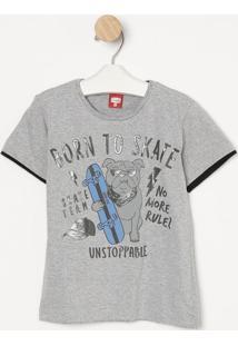 "Camiseta ""Born To Skate""- Cinza & Azul- Gueda Kidsgueda Kids"