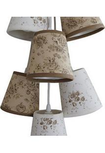 Luminária Cacho Floral Crie Casa Bege E Branco