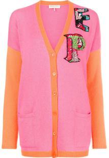 Emilio Pucci Cardigan Color Block Com Logo - Rosa