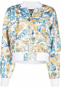 Versace Jeans Couture Jaqueta Bomber Com Padronagem Barroca Estampada - Branco