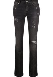 Dolce & Gabbana Calça Jeans Slim Com Efeito Desgastado - Preto
