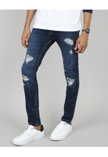 Calça Jeans Masculina Skinny Destroyed Azul Escuro