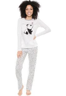Pijama Cor Com Amor Estampado Off-White/Preto
