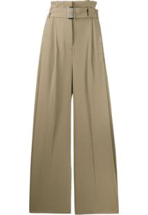 Burberry Paperbag-Waist Wide-Leg Trousers - Neutro
