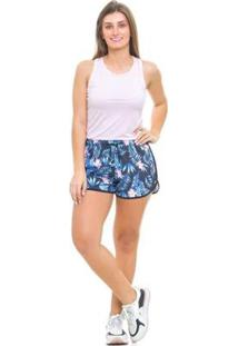 Bermuda De Praia Tactel Blankrosê - Floral Feminina - Feminino-Azul Escuro