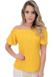 Blusa Mamorena Ombro Elástico Frente Ponto Palito Amarelo
