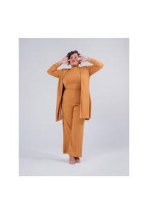Calça Pantalona Almaria Plus Size Miss Taylor Canelado Amarelo