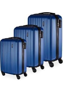 Conjunto De Malas De Viagem California Em Abs Gosuper Rodinhas Giro 360º 3 Peças - Masculino-Azul