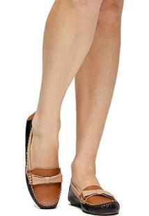 Mocassim Couro Shoestock Flat Laço Tricolor Feminino - Feminino