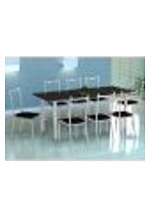 Conjunto De Mesa Cordoba Com 8 Cadeiras Lisboa Branco E Preto Liso