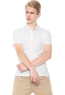 Camisa Polo Calvin Klein Reta Off-White