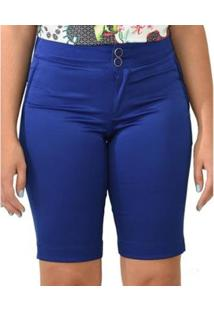 Bermuda Moché Plano Liso - Feminino-Azul
